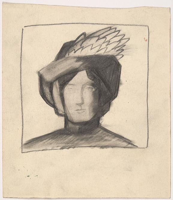 K. Malevich. Woman's Portrait in a Feathered Hat. Late 1900s. Graphite pencil on paper. State Russian Museum