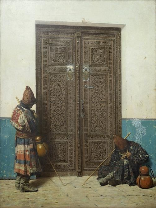 V.Vereshchagin. At the Doors of a Mosque. 1873. Oil on canvas.  State Russian Museum