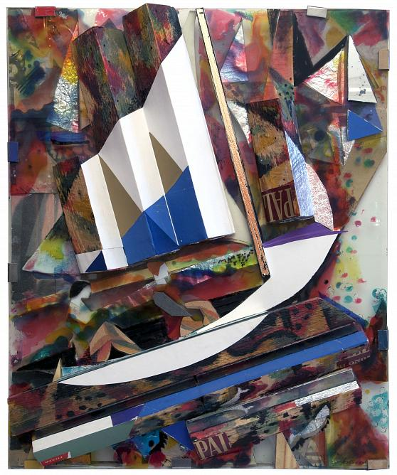 On Canoe. 1978. Object. Collage on glass. 60x50