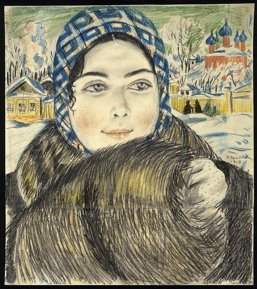 Boris Kustodiev. Young Merchant's Wife in a Checked Headscarf