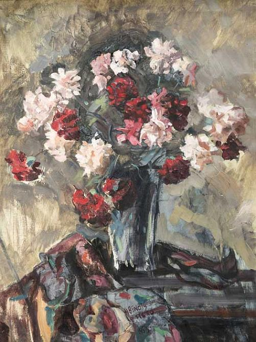 Still Life with Carnations and Oriental Headscarf. 1953. Oil on canvas 75 x 57