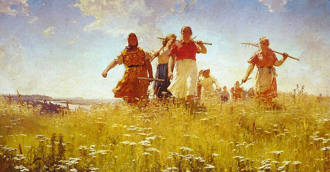 A. Mylnikov. In Peaceful Fields. 1950. The State Russian Museum