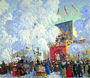 Kustodiev B. Fairground Booth. 1917. Oil on canvas. 80х93