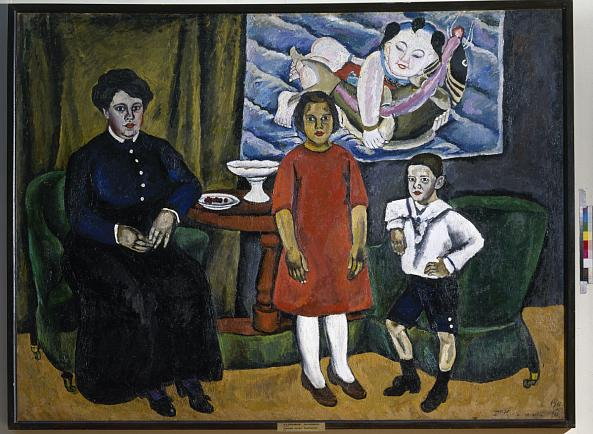 Pyotr Konchalovsky. A Family portrait (against the Background of a Chinese Panel)
