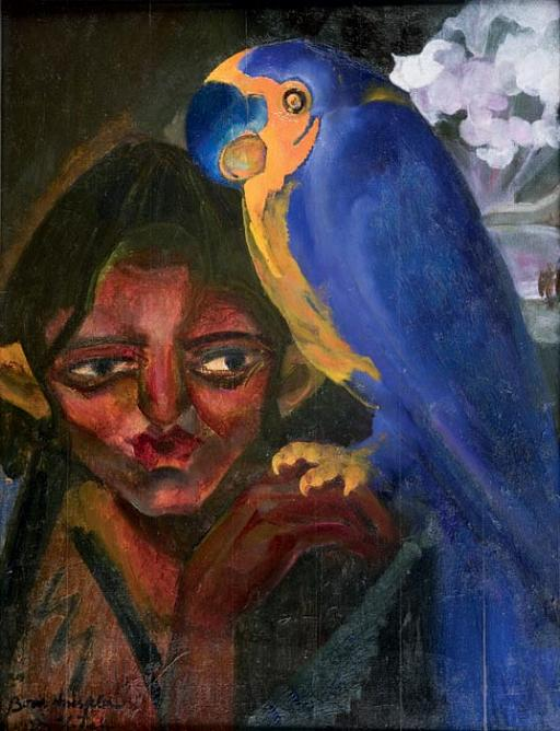 B. Anisfeld. Boy with a Parrot. 1923. Oil on cardboard. 76,5×58.