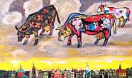 Cows of Picasso Grazing in the Sky Above Amsterdam. 2010. Oil on canvas. 60х100